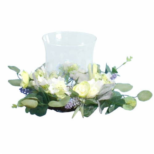 HD Designs Faux Floral Camellia/Lavender Candle Holder Perspective: front