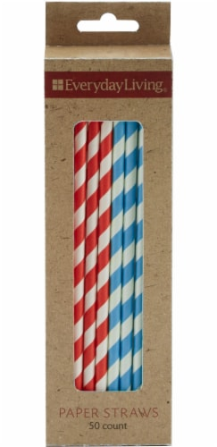 Everyday Living® Paper Straws - Red/Blue Perspective: front