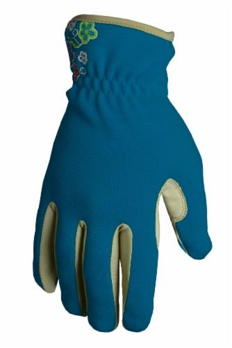 The Joy of Gardening Spandex Garden Glove Pair - Blue Sapphire Perspective: front