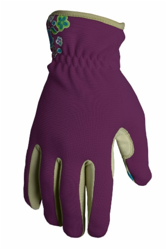 The Joy of Gardening Spandex Garden Glove Pair - Plum Caspia Perspective: front
