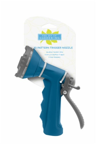 The Joy of Gardening® 10-Pattern Trigger Nozzle - Blue Sapphire Perspective: front