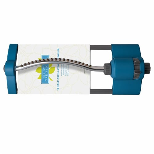 The Joy of Gardening® 19 Hole Metal Oscillating Sprinkler - Blue Perspective: front