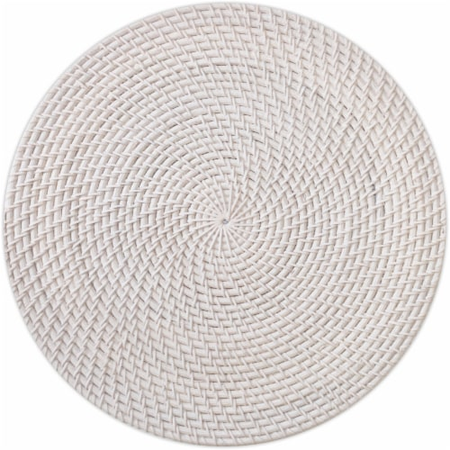 Dip Avery Wicker Table Placemat - White Perspective: front