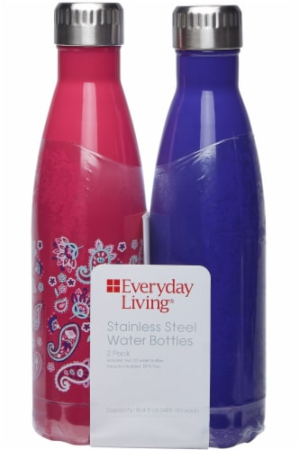 Everyday Living® Stainless Steel Water Bottles - Paisley/Deep Blue Perspective: front