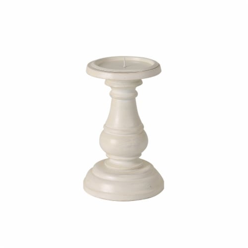 HD Designs Wood Pillar Holder - White Perspective: front