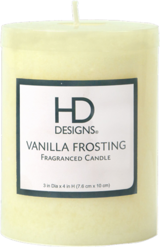 HD Designs® Vanilla Frosting Pillar Candle - Cream Perspective: front