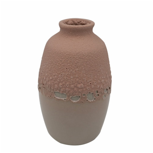 HD Designs Two-Tone Ceramic Vase - Pink Perspective: front