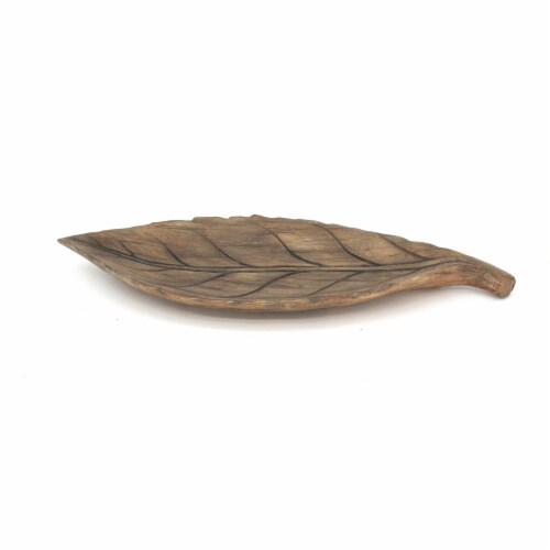 HD Designs Wood Leaf Tray - Brown Perspective: front