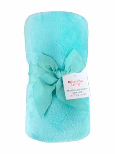 Everyday Living®  Microplush Throw - Aqua Perspective: front