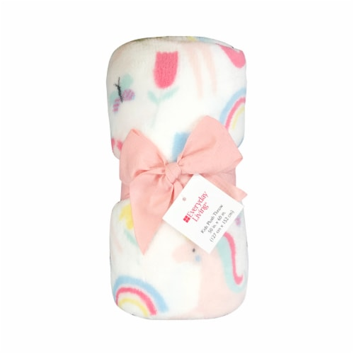 Everyday Living Kids Microplush Throw Blanket - Rainbow Unicorn Perspective: front