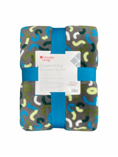 Everyday Living® Squiggle Microplush Blanket - Gray Perspective: front