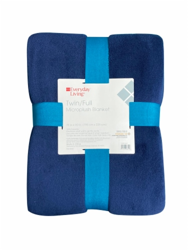 Everyday Living® Microplush Blanket - Blue Perspective: front