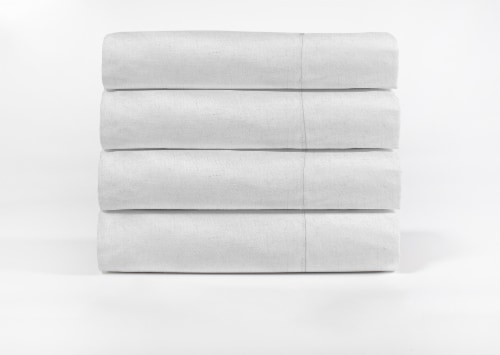 Modavari Home Fashions Linen Sheet Set - 4 Piece - White Perspective: front