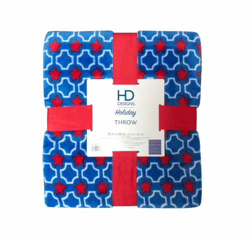 HD Designs® Holiday Star Spangled Plush Throw Perspective: front