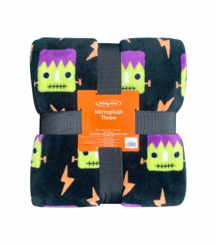 Holiday Home Frankenstein Halloween Throw Perspective: front