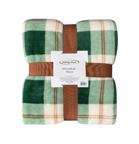 Holiday Home Microplush Throw - Harvest Green Plaid Perspective: front