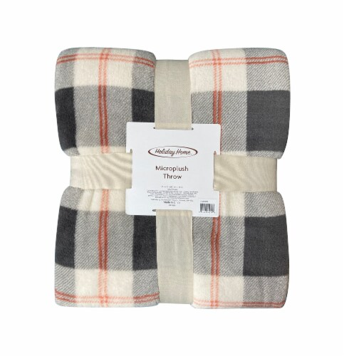 Holiday Home Microplush Throw - Harvest Gray Plaid Perspective: front