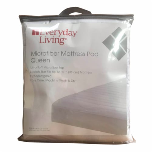 Everyday Living® Microfiber Mattress Pad - White Perspective: front