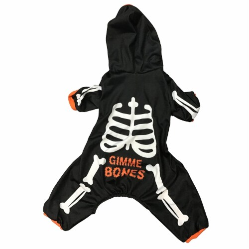 Holiday Home Medium Skeleton Hoodie Pet Costume - Black/White Perspective: front