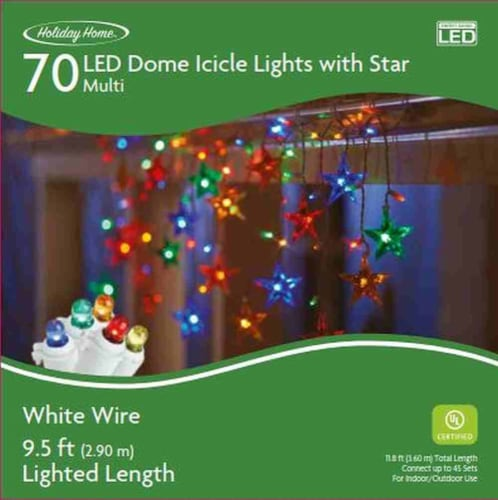 Holiday Home® 70 White Wire LED Dome Icicle Lights with Star - Multi Perspective: front