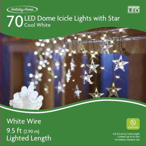Holiday Home® 70 White Wire LED Dome Icicle Lights with Star - Cool White Perspective: front