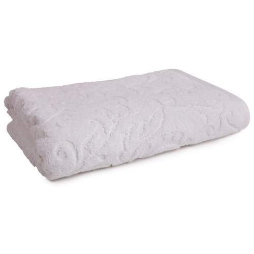 Modavari Home Fashions Jacquard Pima Bath Towel - Bright White Perspective: front