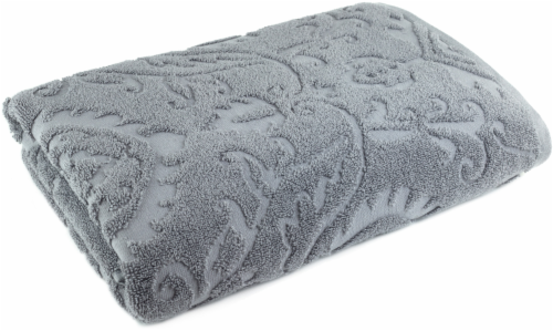 Modavari Home Fashions Jacquard Bath Towel - Gray Flannel Perspective: front