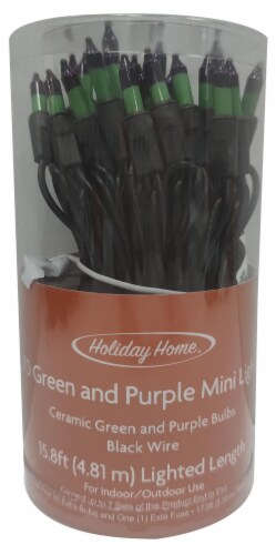 Holiday Home® Mini Lights - Green/Purple Perspective: front