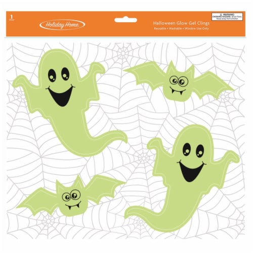 Holiday Home® Halloween Glow Ghost Gel Cling Perspective: front