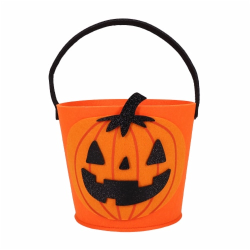 Holiday Home Felt Pumpkin Treat Bucket - Orange/Black Perspective: front
