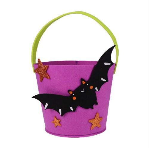 Holiday Home Felt Bat Treat Bucket Perspective: front