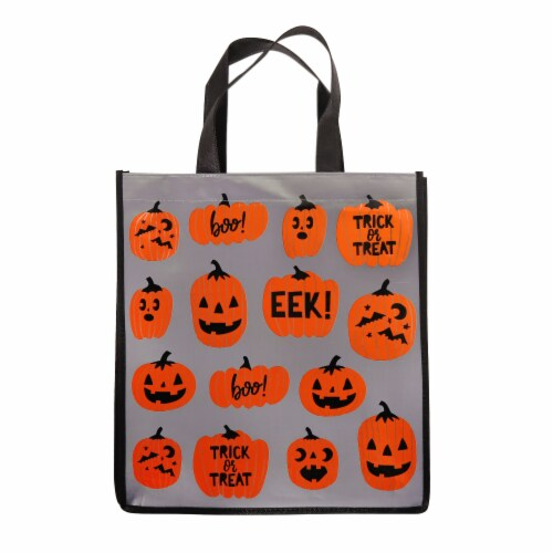 Holiday Home Foil Pumpkin Toss Treat Bag Perspective: front