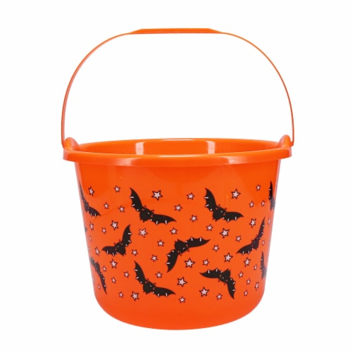 Holiday Home Flying Bats Treat Bucket - Orange Perspective: front