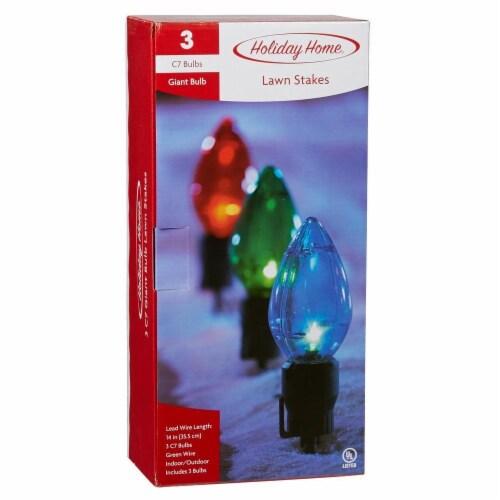 Holiday Home 3 Giant Bulbs Stake Christmas Lights Perspective: front