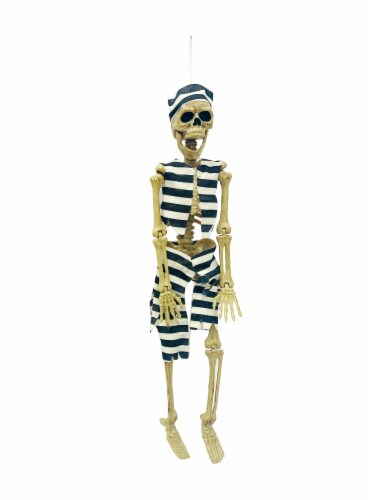 Holiday Home Hanging Convict Dressed Skeleton Decoration Perspective: front