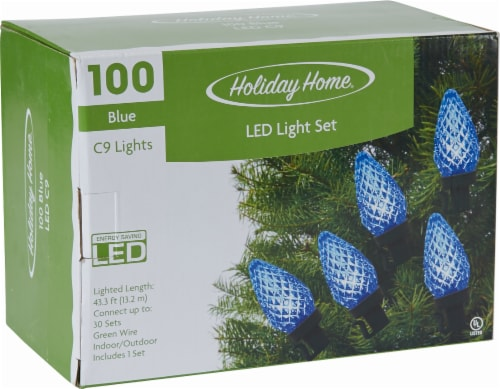 Holiday Home® C9 LED String Lights - Blue Perspective: front