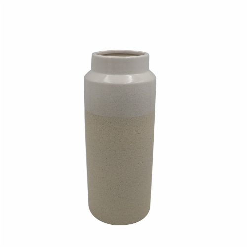 HD Designs Large Two Tone Ceramic Vase - Cream Perspective: front