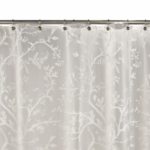 Everyday Living Langley Floral Shower Curtain - White Perspective: front