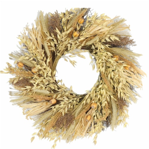 HD Designs Wheat and Oat Wreath - Tan Perspective: front
