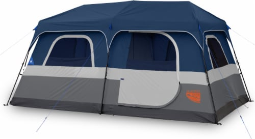Glacier's Edge 9-Person Instant Cabin Tent - Navy/Gray Perspective: front