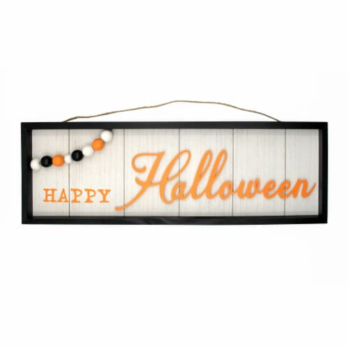 Holiday Home Happy Halloween Wall Sign with Beads - Ivory Perspective: front