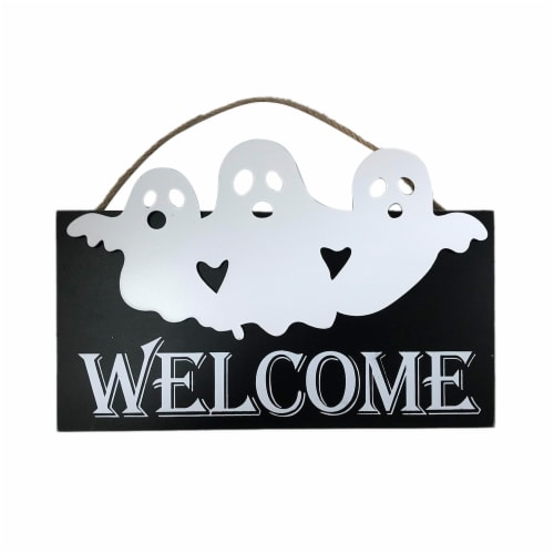 Holiday Home Welcome Ghost Wall Sign - Black/White Perspective: front