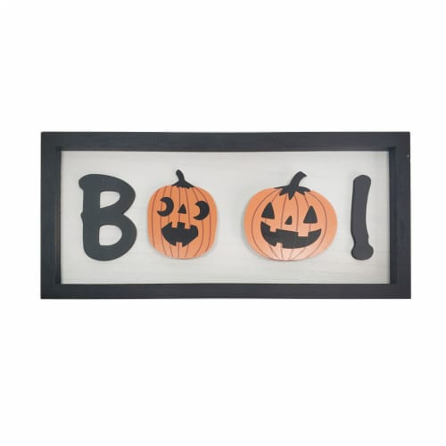 Holiday Home Boo! Wall Sign - Ivory/Black Perspective: front
