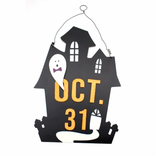 Holiday Home Oct 31 House Wall Sign - Black Perspective: front