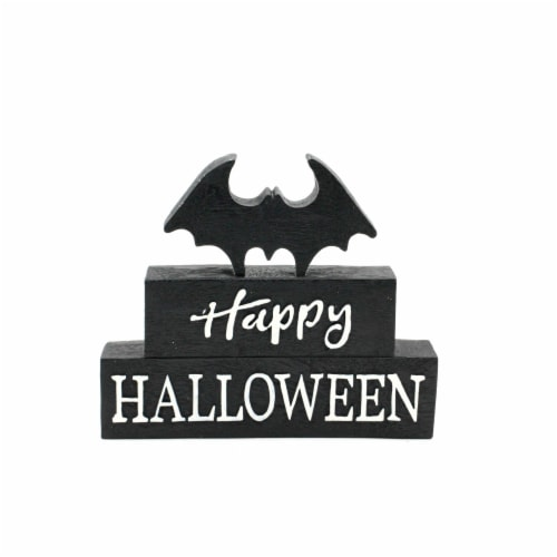 Holiday Home Happy Halloween Bat Block Sign - Black Perspective: front