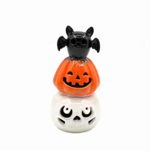 Holiday Home LED Stacked Bat Pumpkin and Skull Decor Perspective: front