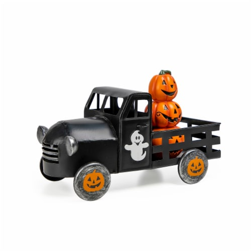 Holiday Home Metal Truck with Pumpkins - Black Perspective: front