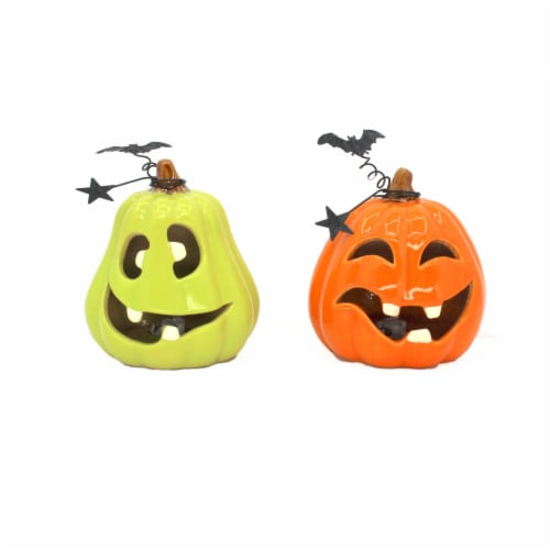 Holiday Home LED Pumpkin with Face Decor - Assorted Perspective: front