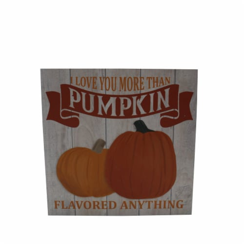 Holiday Home Love Your More Than Pumpkin Block Sign - Orange Perspective: front