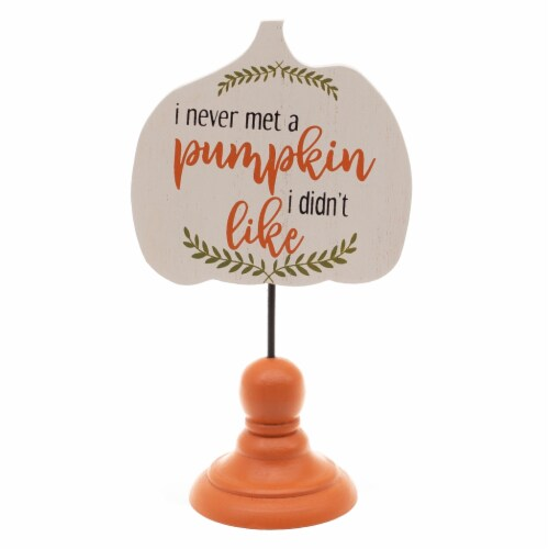 Holiday Home Never Met A Pumpkin Mini Sign - Orange Perspective: front